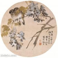 【印刷级】GH6061085古画任伯年花鸟小品图册(6)-小鸟-花朵册页图片-27M-3128X3089