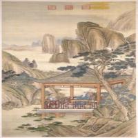 弘历观荷抚琴图轴-清朝-人物