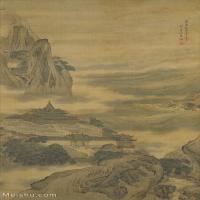【印刷级】GH6155072古画立轴 蓬莱仙岛图-清-袁江-北京故宫山水图片-37M-2799X4671