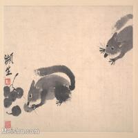 【印刷级】GH6080155古画动物齐白石濒生动物松树小品图片-32M-3664X3121