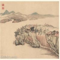 【印刷级】GH6060122古画石涛设色山水风景册页图片-53M-3993X3485_56937057