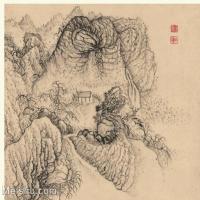 【印刷级】GH6060116古画石涛设色山水风景册页图片-53M-4023X3410_56933235