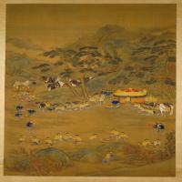 郎世宁乾隆皇帝围猎聚餐图轴-清朝-人物
