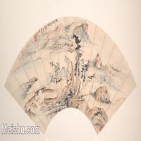 【打印级】GH6070367古画山水风景扇面图片-23M-4000X2044