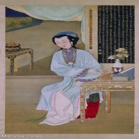 【印刷级】GH6061826古画雍亲王题书堂深居图屏-人物-女人-持表对菊册页图片-37M-2610X4978_13293235