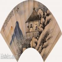 【打印级】GH6070400古画山水风景周志逸梅妻鹤子扇面图片-73M-6474X2972_27125079
