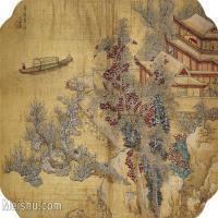 【印刷级】GH6080016古画-雪溪图-明-蓝瑛国画水墨小品-34.5x25-55x40-风景-建筑-河流-小船-小品图片-40M-4421X3217