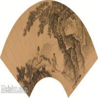 【打印级】GH6040098古画扇面-明 周臣-携琴看山图古画扇面-图片山水植物-65M-6014X2860