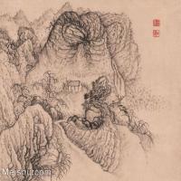 【印刷级】GH6062475古画石涛-设色山水(5)册页图片-44M-3944X3344