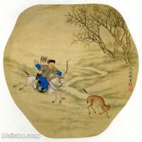 【印刷级】GH6080672古画人物-清代名家沈振麟-官员打猎-小品图片-16M-2480X2385