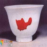 景德镇窑釉里红三鱼碗