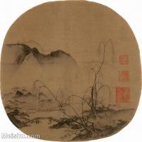 【印刷级】GH6156208古画柳岸远山图山水小品图片-31M-3342X3280