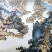 张大千-长江万里图局部画作赏析