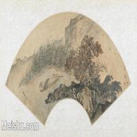 【打印级】GH6070285古画山水风景扇面图片-41M-5300X2723