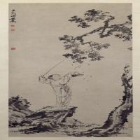 闵贞采桑图轴-清朝-人物