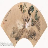 【打印级】GH6070090古画动物公鸡扇面图片-49M-5122X2497_18118236