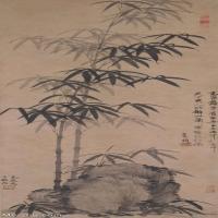 【超顶级】GH6085318古画树木植物-墨竹坡石图-元-高克恭-纸本-30x86.5-100x288-墨竹子假石头立轴图片-661M-8957X25809_7622988