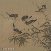 【印刷级】GH6080393古画花卉鲜花鸟霜篠寒雏图页故宫博物院藏-南宋-佚名国画工笔画-30.5x30-91.5x90-竹子-小鸟-小品图片-85M-5526X5436