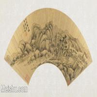 【打印级】GH6070283古画山水风景扇面图片-40M-5300X2691