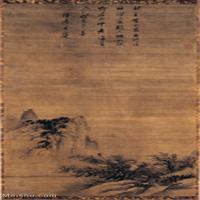 【印刷级】GH6088539古画山水风景元-寒林归樵图-东京博物馆立轴图片-127M-4843X9186
