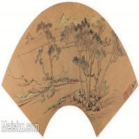 【欣赏级】GH6070271古画山水风景扇面图片-9M-2581X1222
