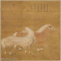 【印刷级】GH6080143古画动物清 虞沅 双马图 美国克利夫兰美术馆藏小品图片-59M-4111X5026