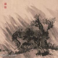 【印刷级】GH6062473古画石涛-设色山水(3)册页图片-41M-3915X3339
