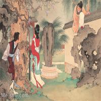 【印刷级】GH6061775古画西厢记-人物-女人-赴约册页图片-27M-3488X2621