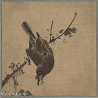 """【印刷级】GH6080376古画花卉鲜花鸟-唐绘手鑑""""笔耕园""""木鸟图-国画水墨-26x25-73x70-树枝-小鸟-小品图片-82M-5490X5280"""