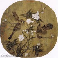 【打印级】GH6080258古画花卉鲜花鸟南宋 佚名 梅竹戏雀图 小品图片-18M-2562X2548-18M-2562X2548