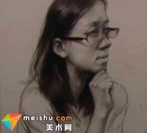 于萍素描女青年半身像2-美术高考视频教学