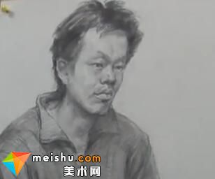 于萍素描男中年半身像-美术高考视频教学
