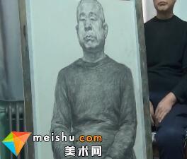 于萍素描男老年半身像-美术高考视频教学