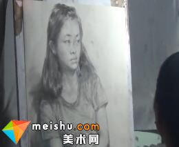 于萍素描女青年半身像1-美术高考视频教学