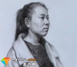 「美术高考」女青年素描半身像-厦门达鸿画室