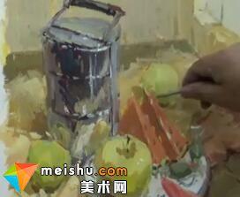 龚永光色彩静物不锈钢饭盒-美术高考教程
