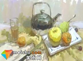 中国美术联考色彩教学-龚永光不锈钢水壶
