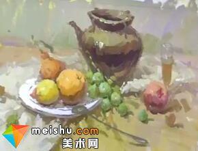 中国美术联考色彩教学-龚永光色彩罐子水果