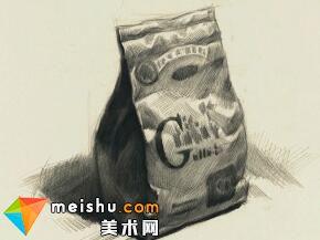王晓露素描静物食品袋-美术高考教程