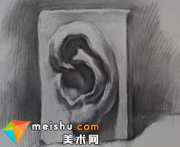 蔡亚男石膏五官耳部示范1-美术高考教程