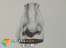 素描石膏五官鼻子示范-美术高考教程