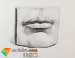 素描石膏五官嘴部示范-美术高考教程