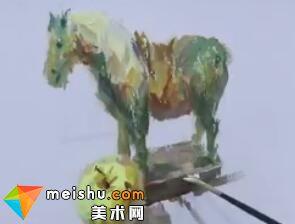 水粉单体之马绘画过程-美术高考教程