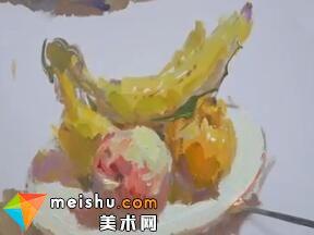 水粉单体果盘的绘画过程-美术高考教程