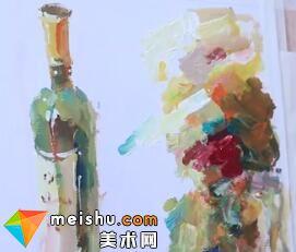 水粉单体之红酒的画法-美术高考教程