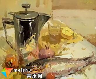 李现鹏水粉不锈钢与鱼-美术高考教程