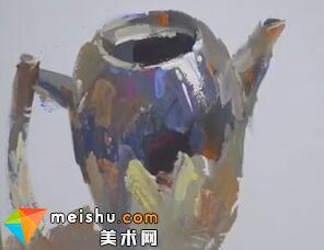 水粉单体水壶的绘画过程-美术高考教程
