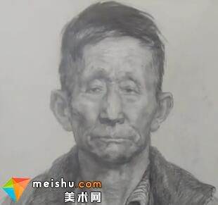 于萍男老年正面素描头像-美术高考视频教学