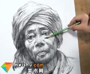 石家庄画室素描头像女老年-美术高考教程