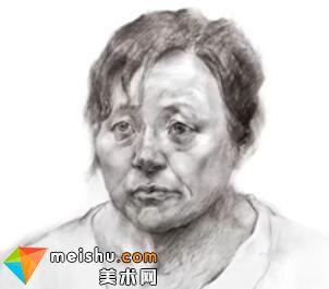 「美术高考」素描头像四分之三女中年1-杭州凝结画室